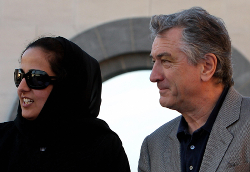 Her Excellency Sheikha Al Mayassa bint Hamad bin Khalifa Al-Thani, daughter of the Emir of Qatar, and TFF founder Robert De Niro in Doha.