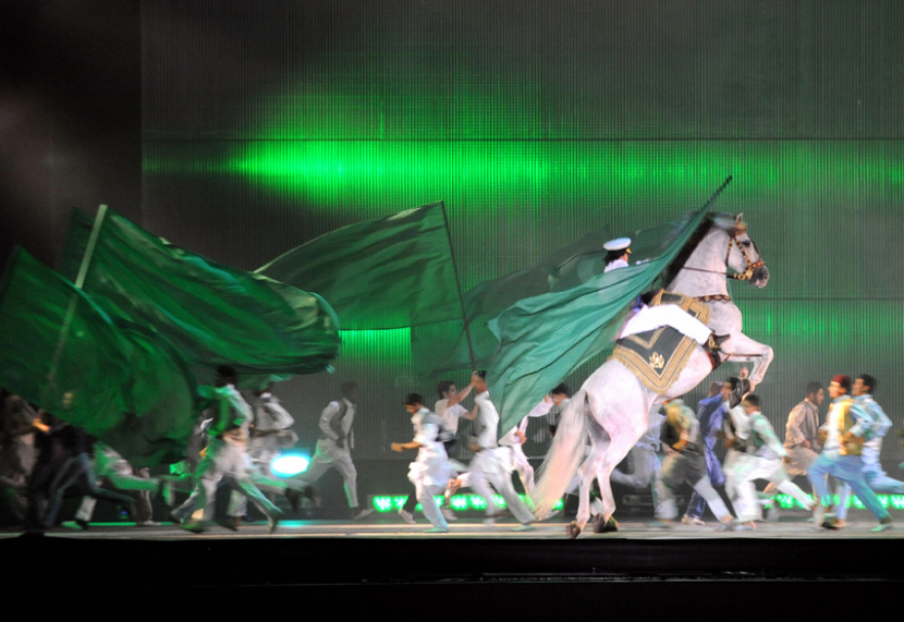 Dress rehearsals take place on the region's largest stage in Tripoli, Libya.