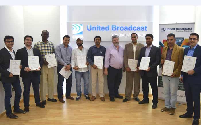 Proud graduates of the IABM certified training course at UBMS Training Academy.