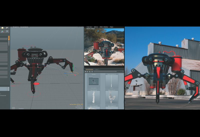Left: A spider bot with inverse kinematics applied while the modo preview renderer shows a near final result in the upper right corner and the right,