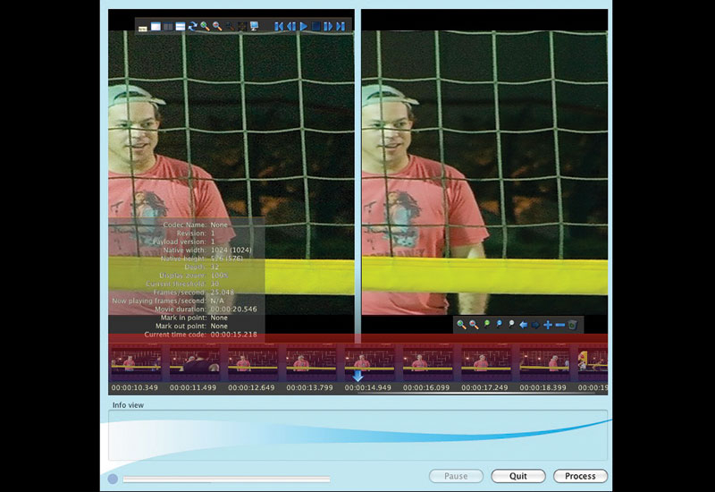 The screen shot above indicates how the image looked pre and post processing.