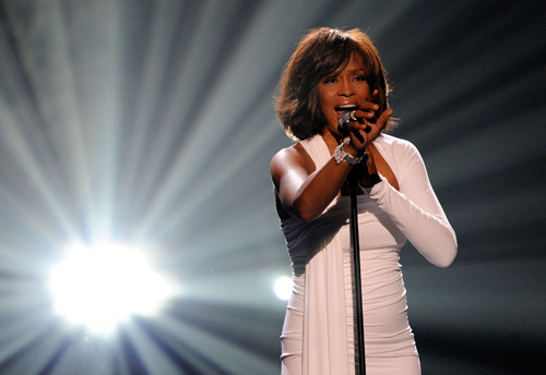 Whitney Houston on stage at the 2009 American Music Awards.