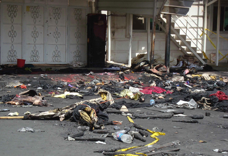 The aftermath of the deadly fire in Kuwait's Jahra area.