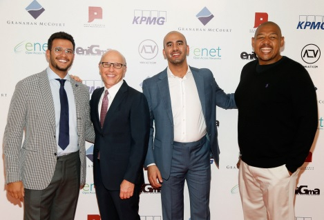Prince Bandar Al Saud, David McCourt chairman and CEO of Granahan McCourt, Omar Talib and Hollywood actor Omar Miller at the launch of ALTV (Photo: Business Wire).