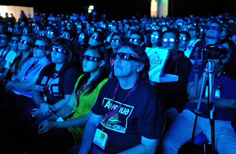 Audience members take in the first preview screening of Avatar at the Comic-Con expo in San Diego.