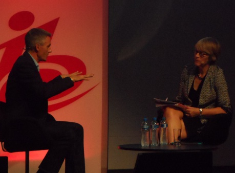 Tim Davie speaking to moderator, Kate Bulkley.