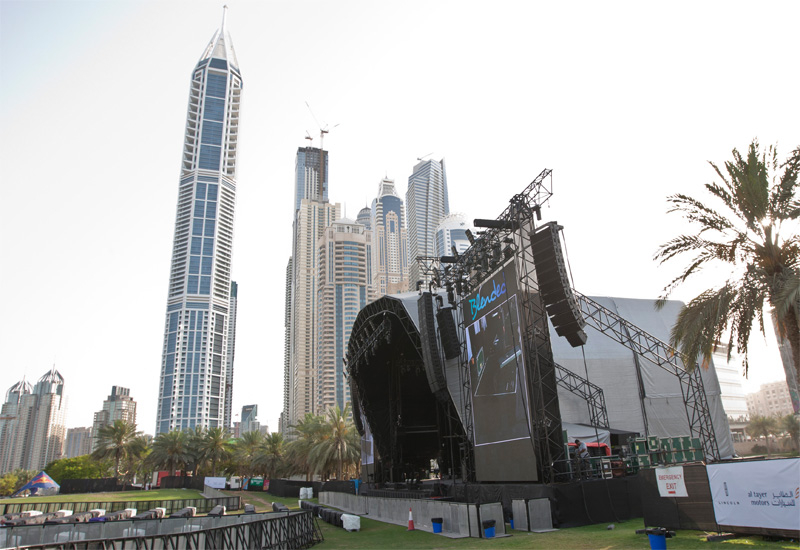 The Blended set up process in Dubai's Media City Amphitheatre, using the stage inherited from Lionel Richie's recent visit.