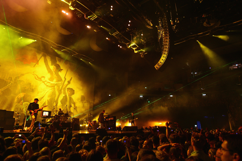 Coldplay on stage in Berlin.