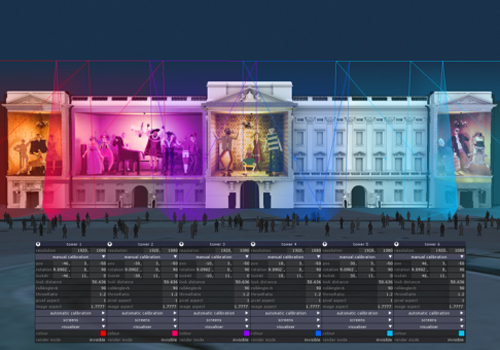 A d3 simulation for the Queen's Diamond Jubilee (2012) mapping of Buckingham Palace.
