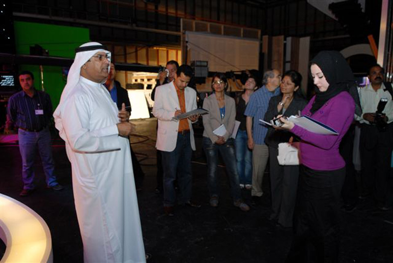 Abdullatif Al Gergawi, General Manager of Dubai TV (left of picture) reveals plans for the rebranding exercise to the media.