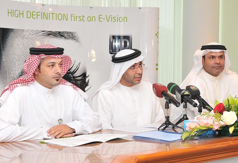 Humaid Rashid Sahoo, CEO of E-Vision flanked by group chief strategy officer Ali Al Ahmed (l) and Khalid Mattar, senior manager PR (r).