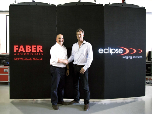 Martin Read (left), general manager DMCC Dubai, Faber Audiovisuals, with Martin Lubach, general manager at eclipse.
