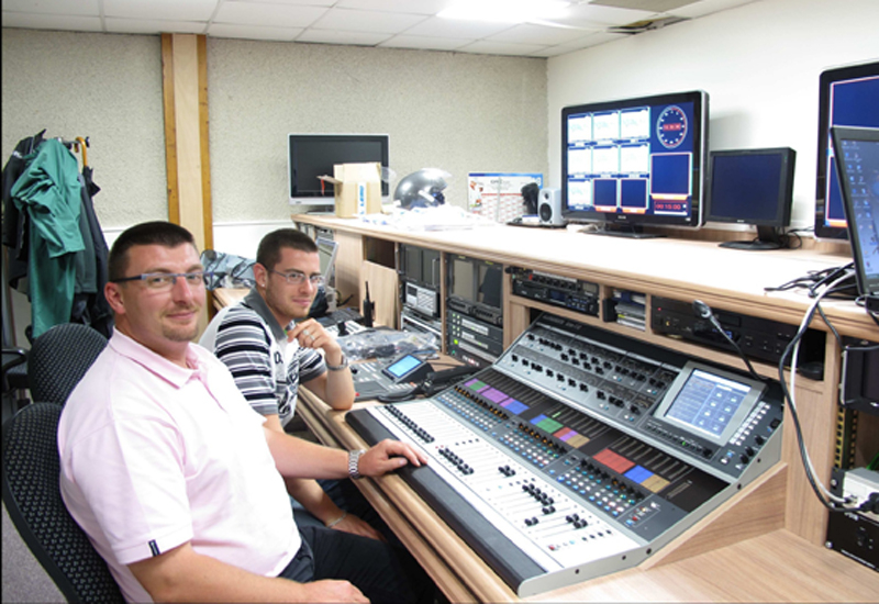 France Galop's sound technicians, Laurent Caillet (left) and R'my at the iLive controls.