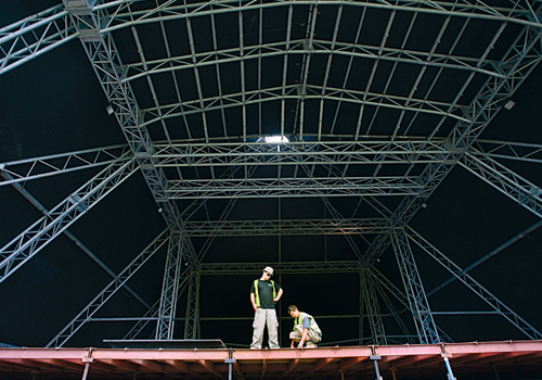 Glastonbury's iconic Pyramid Stage during pictured during pre-production for this year's festival.