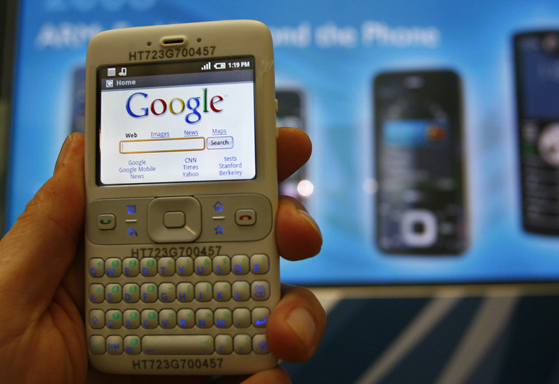 A prototype featuring Google's Android OS pictured in 2008.