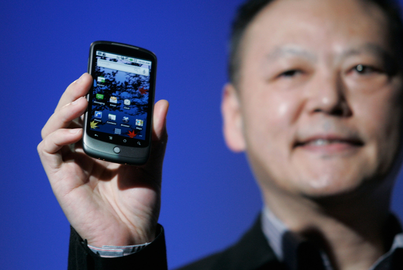 Peter Chou, CEO of HTC, pictured with Google's Nexus One smartphone.