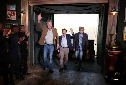 The Grand Tour is hosted by former Top Gear presenters, Jeremy Clarkson, Richard Hammond and James May.