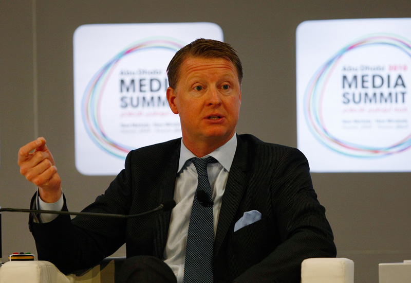 Ericsson CEO Hans Vestburg speaking at the Abu Dhabi Media Summit earlier this year.