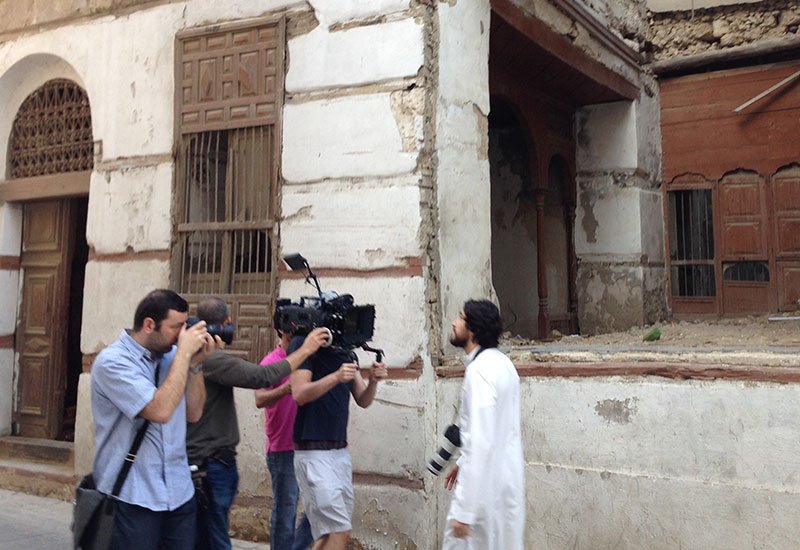 Shooting footage outoors in KSA was initally a challenge but the crew soon won the necessary approvals.