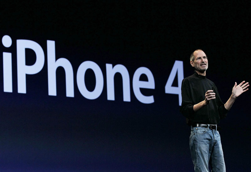 Apple CEO Steve Jobs at the launch of the iPhone 4.