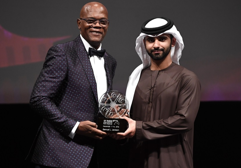 Lifetime Achievement Award Winner Samuel L Jackson with HH Sheikh Mansoor bin Mohammed bin Rashid Al Maktoum.