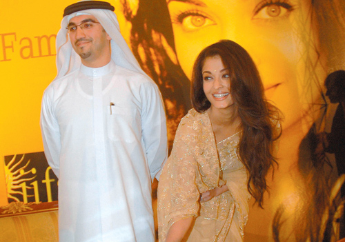 Pictured with Jamal Al Sharif is Bollywood actress, Aishwarya Rai, who made a handprint a while ago for Dubai Studio City, which aims to one day be th