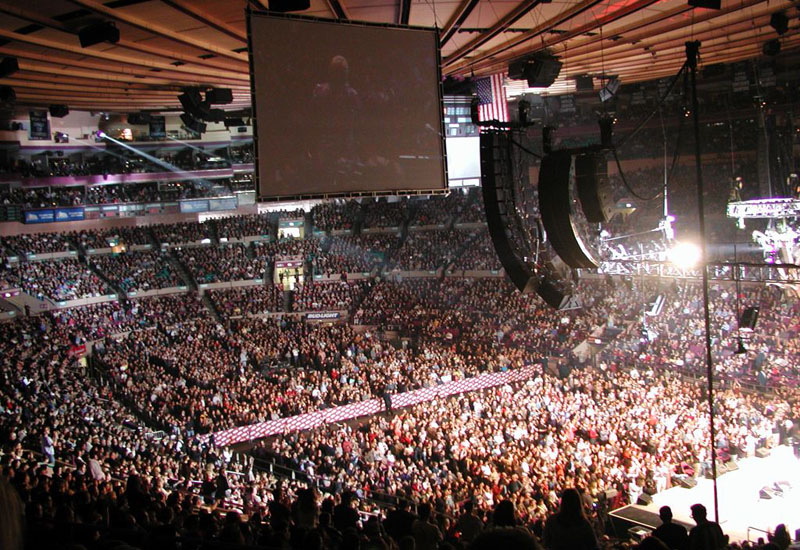 MADISON SQUARE GARDEN (New York, USA)  Claiming the title of The World's Most Famous Arena, Madison Square Garden had three different addresses before settling in its current spot - on Seventh Avenue, between 31st Street and 33rd Street - in February of 1968. Many historic shows have taken place here including John Lennon's last live stage performance in 1974 (which had him paying a debt owed to Elton John) and the amazing Concert for New York benefit in October of 2001, to aid the victims of the 9/11 terrorist attacks. The Garden continues to host the biggest names in music, last month saw performances by Lady Gaga and Iron Maiden.