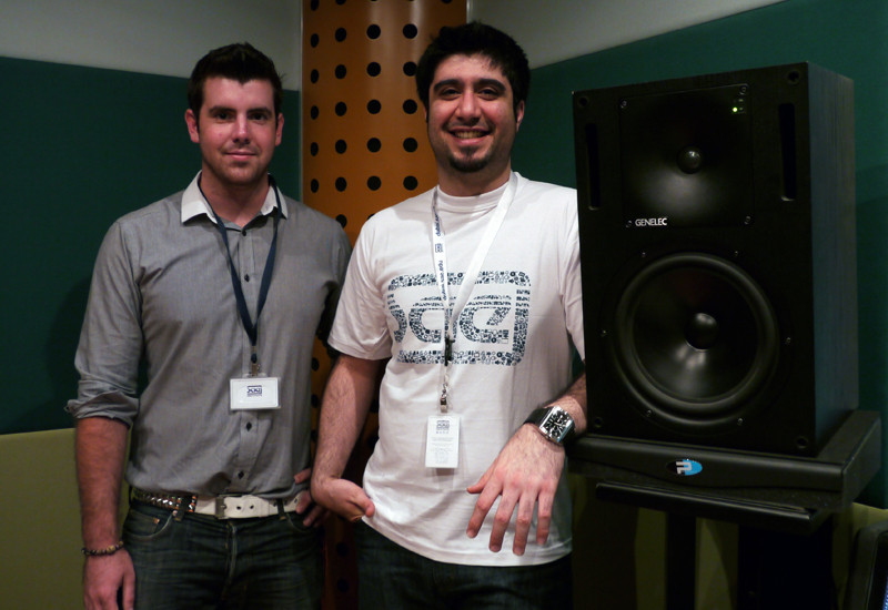 Simon Short with Mansoor Shamsi from SAE and the RX9 downfire stabilizers from Primacoustics.