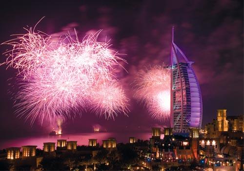 Dubai's iconic Burj Al Arab played host to the city's 2007 NYE fireworks festival.