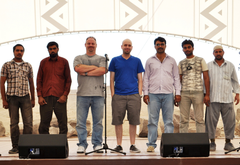 The team behind the new Saudi theatre installation.