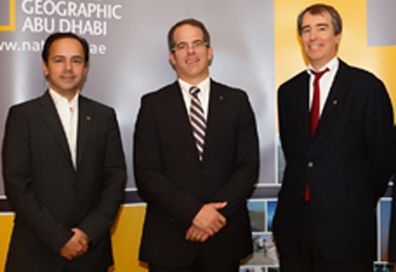 Ward Platt, president, National Geographic Asia Pacific and Middle East, flanked by Karim Sarkis (L) and Edward Borgerding (R) of ADMC.