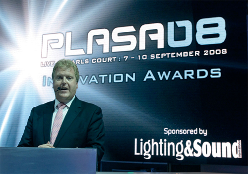 PLASA?s CEO Matthew Griffiths presented the PLASA08 Awards for Innovation.