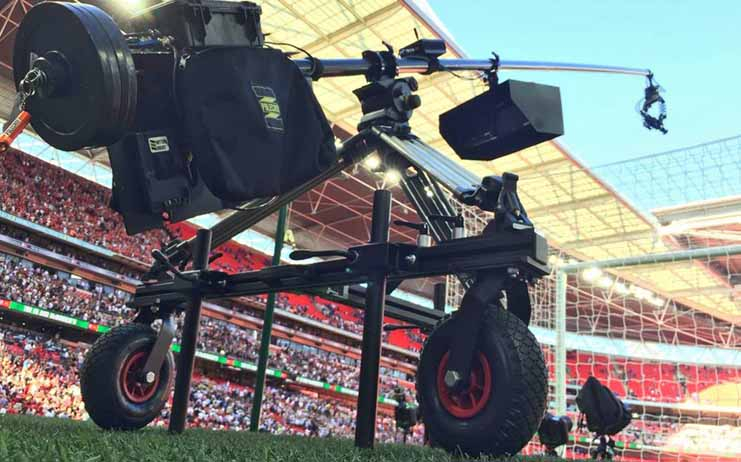 The new Cross Terrain Dolly allows users to move their Polecam or other camera rig across  gravel paths and fields.