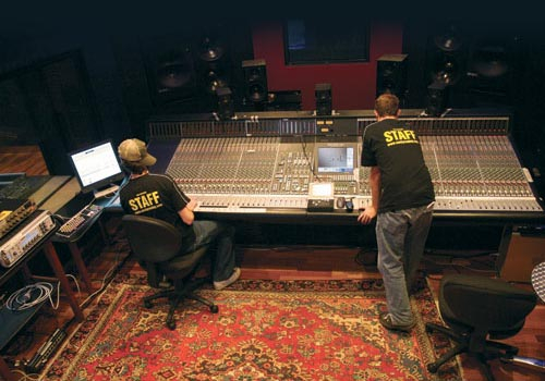 SAE graduates operate a Solid State Logic XL 9000 console installed at the organisation's Byron Bay studio facility.