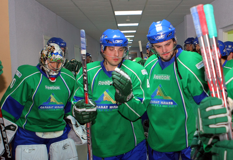 Salavat Yulaev players prepare for their cup semi final against Metallurg Magnitogorsk.