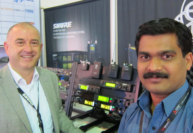 Freddy Sicko from Shure and Shajahan K K from NMK at the recent InfoComm exhibition in Dubai to officially launch the PSM1000 in the Middle East.