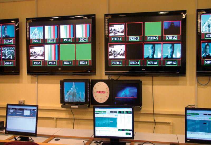 The newsroom installation at Syrian TV is designed for 40 journalists' desktops.