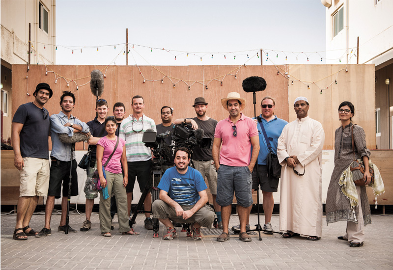 Kaabour and the team on set.