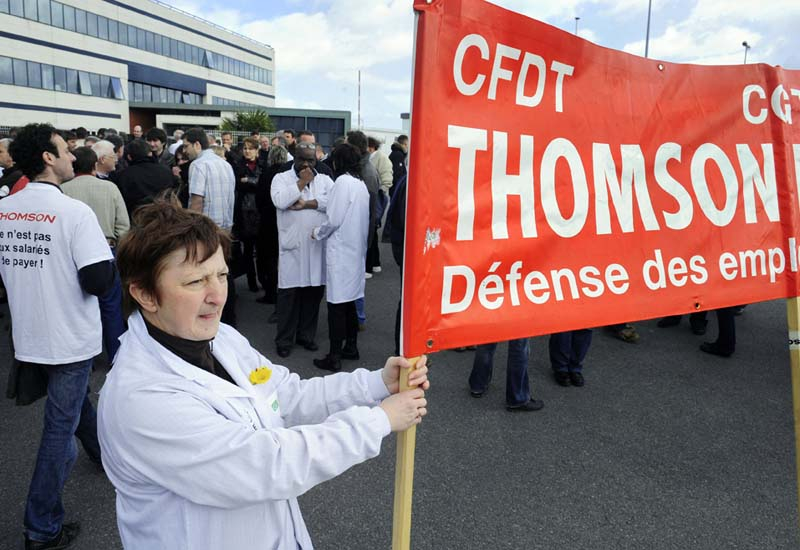GV staff protest job cuts in Western France.