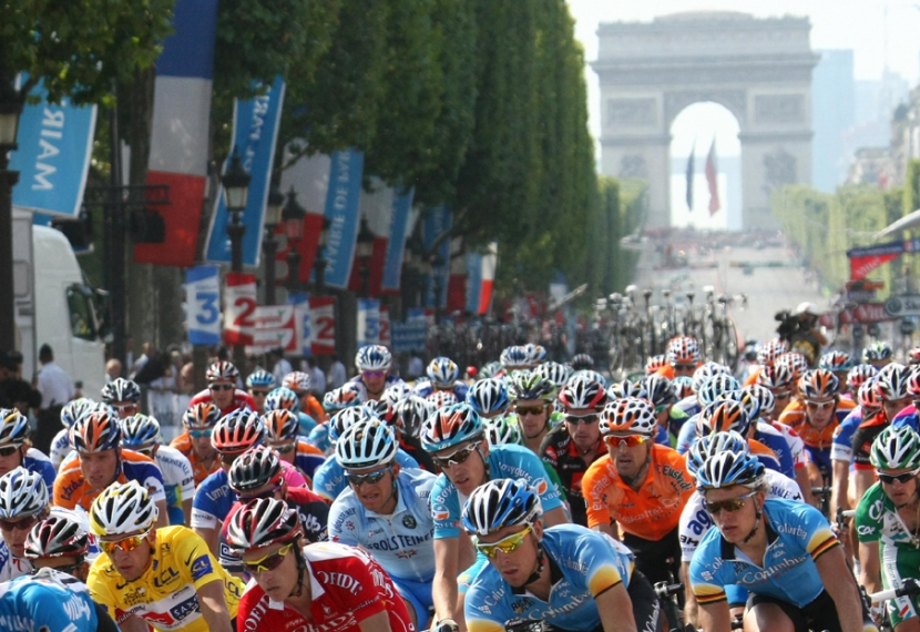 Competitors in the final stage of the 2008 Tour de France.