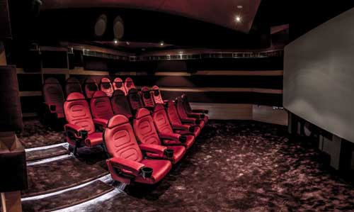 The viewing room features the latest Christie 4K cinema projector.
