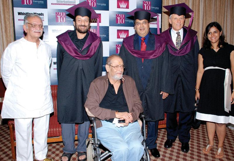 L-R: Gulzar, Shekhar Kapur, Shammi Kapoor, Subhash Ghai, John Jerome Lee (dean WWI) and Meghna Ghai (president WWI)