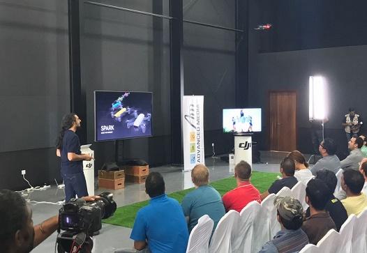 Pejman Ghorbani, sales engineer, Advanced Media, demos DJI Spark.