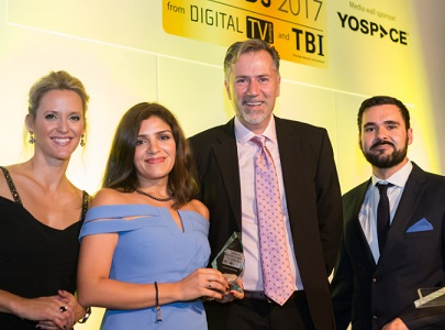 Heba Korayem (2nd from left) and Nick Grande (3rd from left) at the Content Innovation Awards.