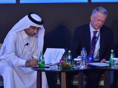 Khalid Balkheyour, Arabsats president and CEO and Sam Farah, head of BBC Arabic.