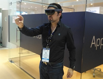 Hani Kichi, Blink Studios, viewing through a Microsoft Hololens headset.
