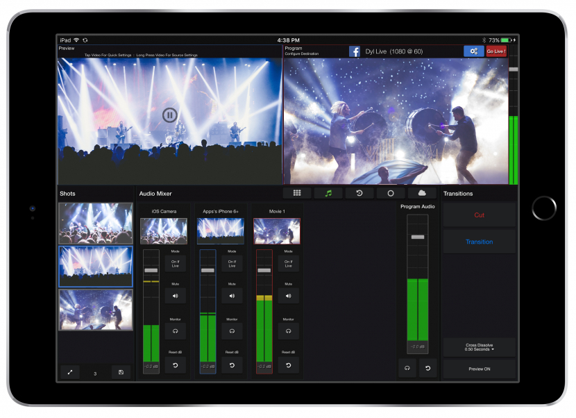 Live:Air Action allows you to connect up to 6 iOS devices and/or video cameras connected with Teradek encoders.