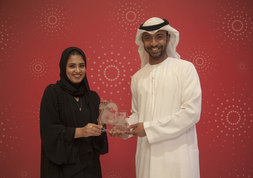 Sameer Al Jaberi Production Manager and Hameeda Al Rahbi, Production Coordinator, accept the award on behalf of twofour54 at the 14th Digital Studio Awards