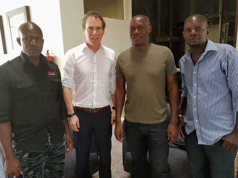 Director Sales Africa for Lawo, Ralf Schimmel with CEO NBS Radio, Hamza N Mbago and team