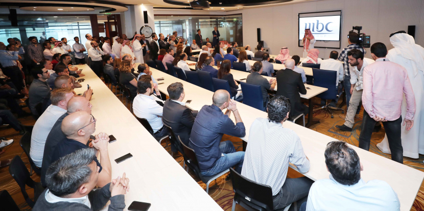 MBC Group's Chairman Waleed Al-Ibrahim, addresses senior management and top executives at the group's headquarters in Dubai